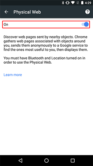 Enable the Physical Web privacy option from within Chrome in Privacy settings